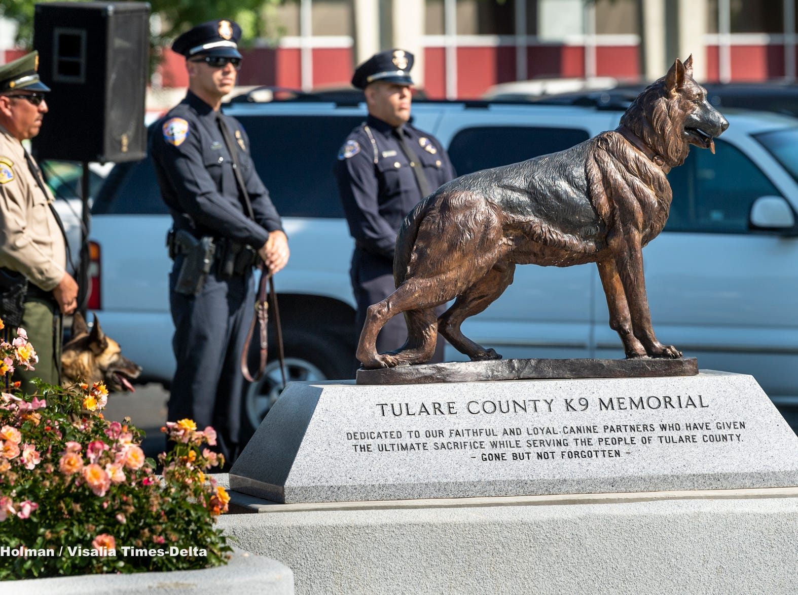 Tulare County Peace Officer Memorial Ceremony now includes a K-9 memorial for Tulare police dog Bane who was killed in the line of duty late in 2018.