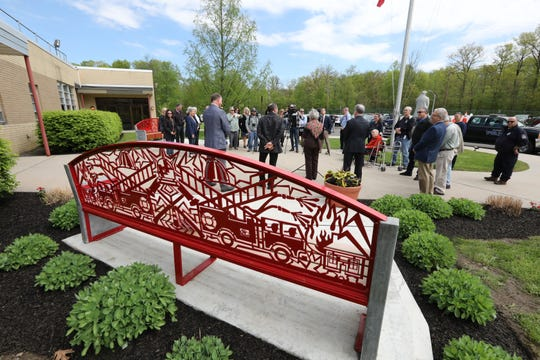 Two commemorative benches by sculptor Eric David Laxman were dedicated during a ceremony at the Rockland County Fire Training Center in Pomona May 8, 2019. The art was funded by the Rockland County Art in Public Places Committee.