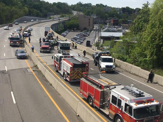 Crashes closed Route 9 southbound in Peekskill on May 8, 2019.