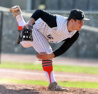 Mamaroneck's Issac Lewis (12) pitches during baseball game at Mamaroneck High School May 7, 2019. Mamaroneck wins 2-1 over Ketcham in the 8th inning.