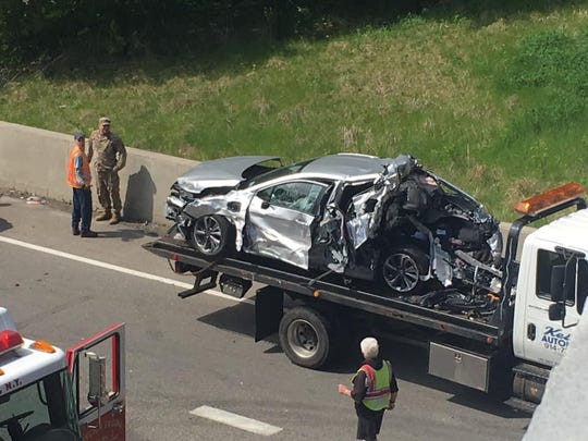 A car was involved in a crash on Route 9 in Peekskill on May 8, 2019, that closed the road for about two hours.