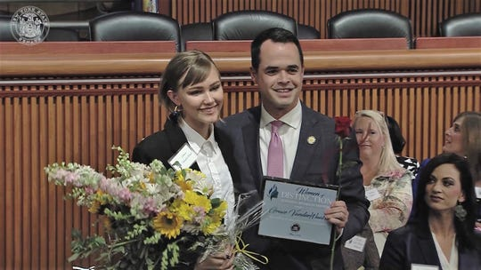 Sen. David Carlucci (D-Rockland/Westchester) presents the NYS Senate Women of Distinction honor to Grace VanderWaal in Albany on Tuesday, May 7, 2019.