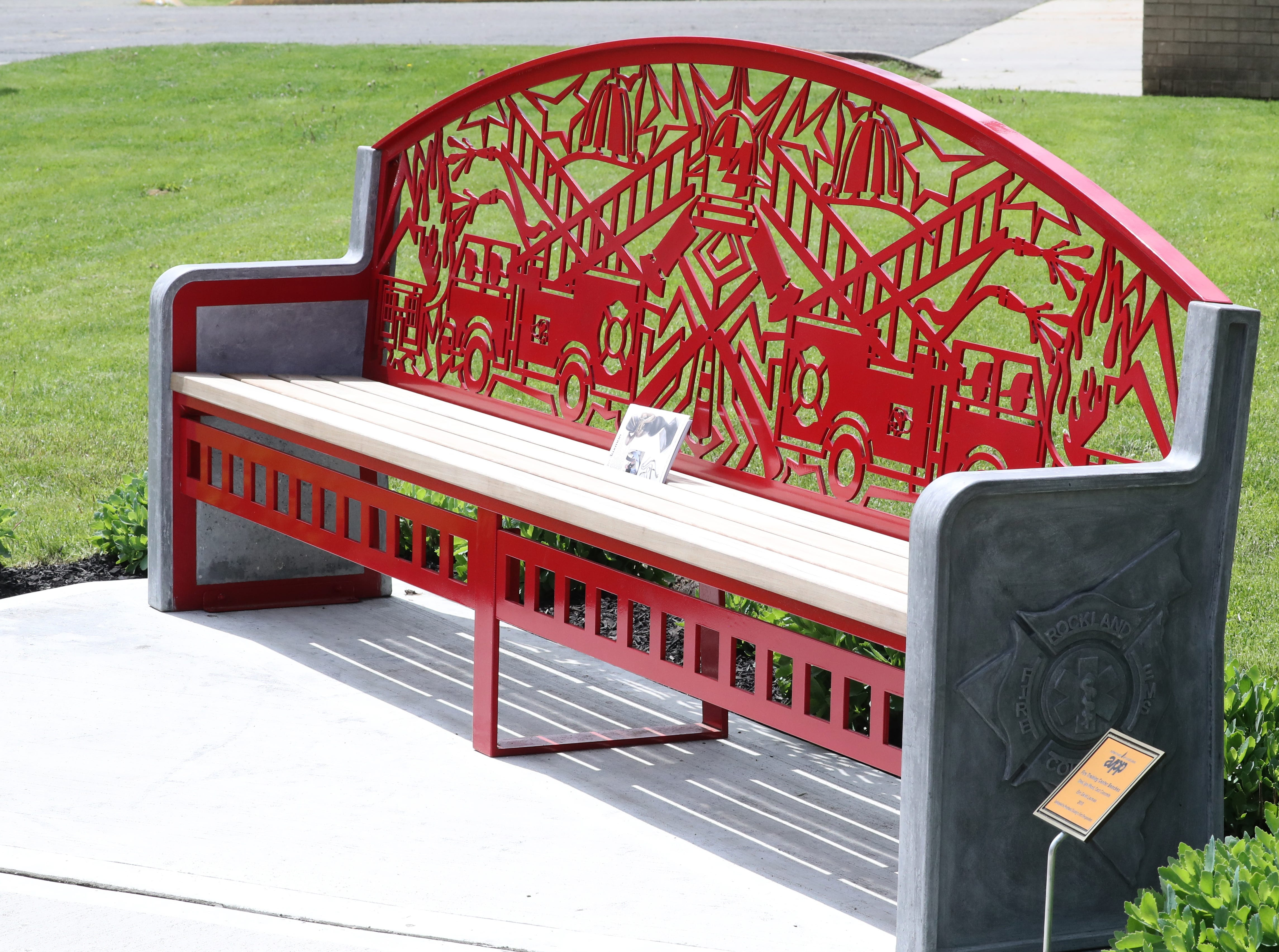 One of wo commemorative benches by 