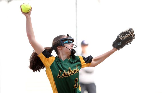 Lakeland's Stella Bale pitched a no hitter against John Jay during softball action in Shrub Oak May 7, 2019. Lakeland won the game 5-0.