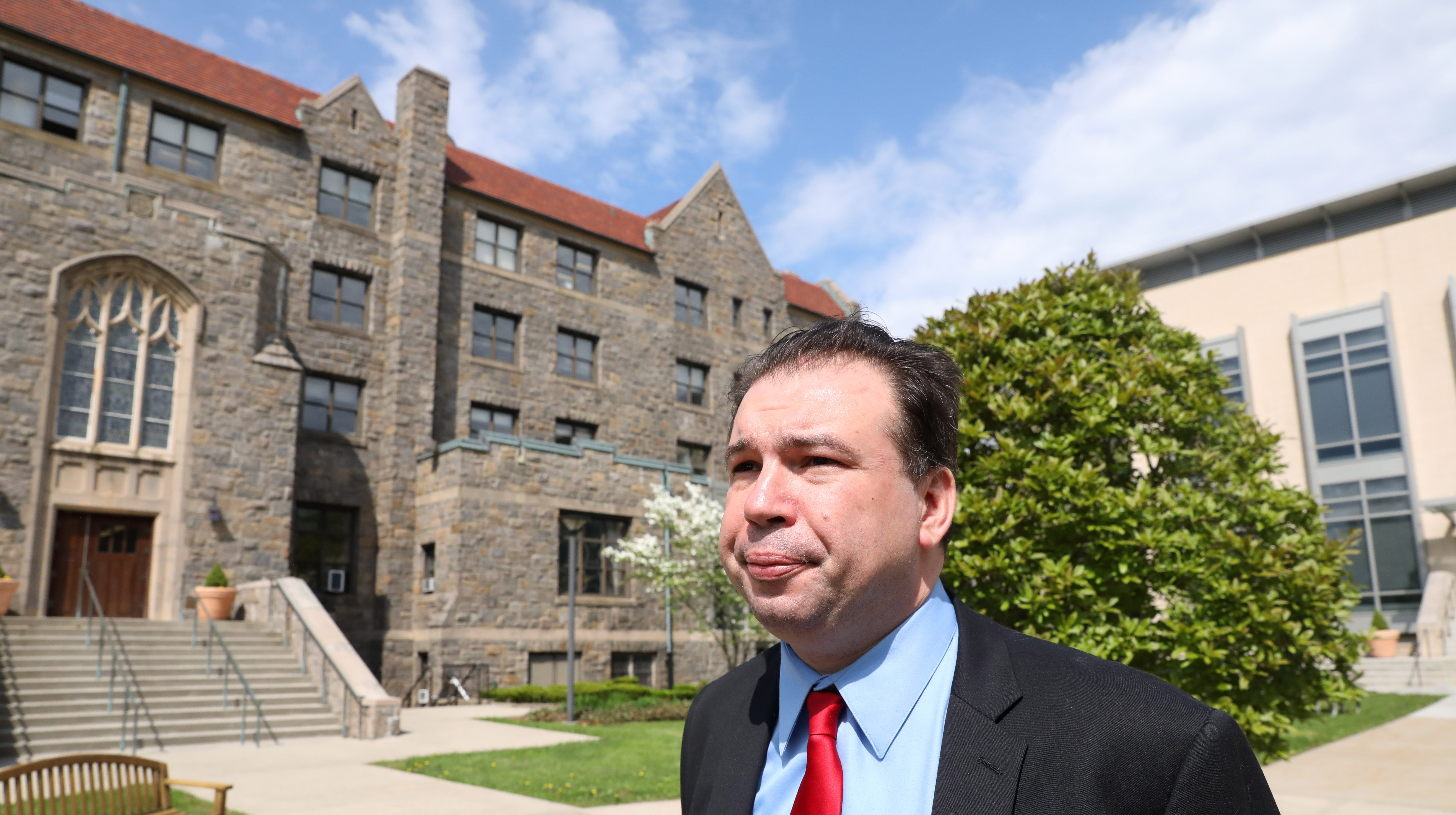 Jeffrey Deskovic, 45, talks about his experience before taking the final test for his law degree at Pace University Elisabeth Haub School of Law in White Plains May 8, 2019. Deskovic was wrongfully convicted of rape/murder of his Peekskill High School classmate. He spent 16 years in prison before he finally got permission to re-run DNA and it matched a convicted killer.