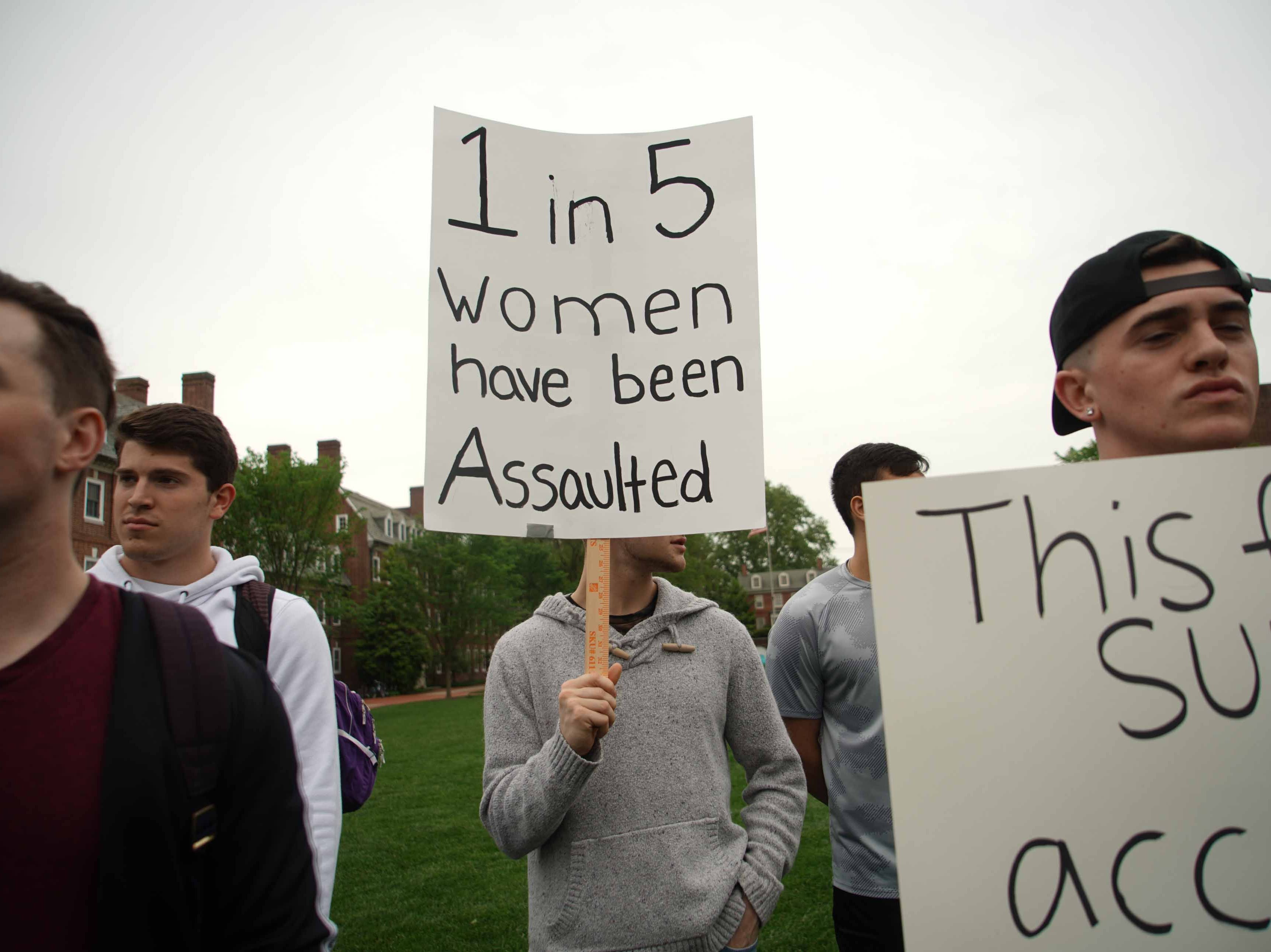 Students and some faculty gathered on the university's Green Wednesday afternoon to support Alyvia Pauzer, 19, a sophomore at the University of Delaware, who was sexual assaulted on campus. After filing charges the state prosecutors decided not to file charges.