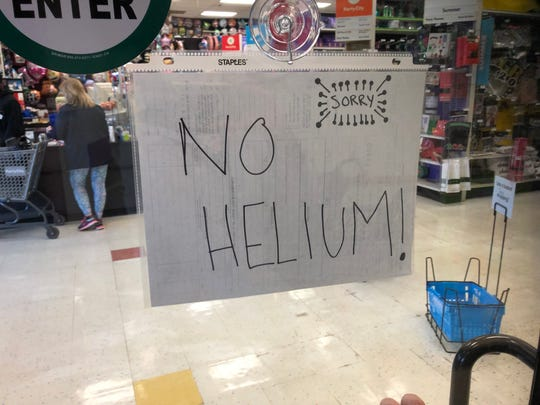 Party City in Elsmere was out of helium this week, which means customers could not buy their widely-advertised balloons.
