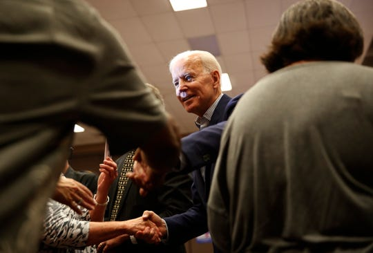 Former vice president and Democratic presidential candidate Joe Biden meets with people after speaking at a rally with members of a painters and construction union, Tuesday, May 7, 2019, in Henderson, Nev. (AP Photo/John Locher)