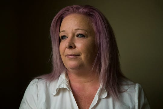 Former substance abuse counselor at Crest South Shannon Lasek stands for a portrait Thursday, April 25, 2019. Lasek said she quit working for Connections in December 2018 after her bosses instructed her to falsify inmate counseling records.