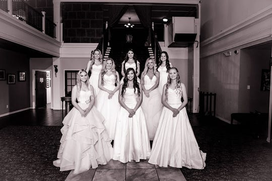 Among those honored May 4, 2019, at the Junior Forum Debutante Presentation were: Left to right: Lindsey Dodson, Izabella Hilmi, Mallory Royal; middle row, left to right: Lauren Dodson, Hali Crawford; bottom row, left to right: Ashby Hood, Kelsey McClellan, Lillian Kaster. Not pictured, Lily Landours.