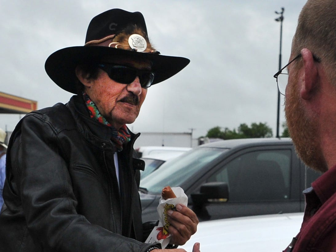 Former NASCAR driver Richard Petty met with fans, Wednesday morning while his son's, Kyle Petty's charitable motorcycle ride made a fuel stop in Wichita Falls.