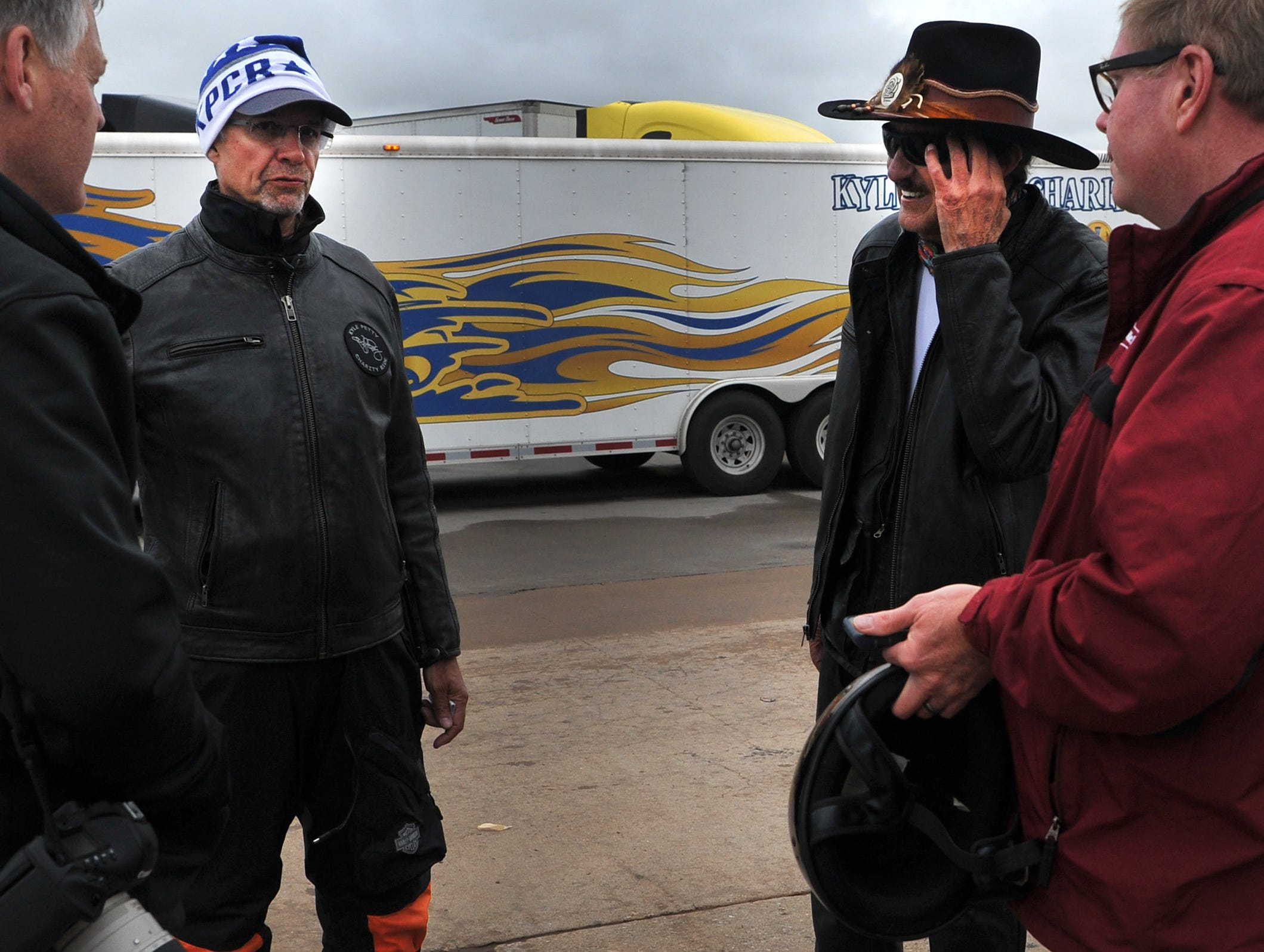 Kyle Petty left, stands with his father, Richard after their Charity Ride made a Wichita Falls pitstop, Wednesday morning to refuel and meet fans. Kyle Petty began the charity ride 25-years-ago by combining his love for helping others with motorcycles, according to a release.