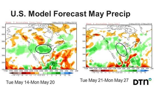 A stationary area of upper level high pressure has kept colder air and rain in the forecast for much of central U.S.. However, the week after Mother's Day into Memorial Day will usher in a milder trend of weather, allowing farmers to get into their fields.