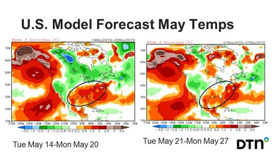 Temperatures in the Upper Midwest are projected to be below normal in mid-May with a warming trend appearing by the end of the month.