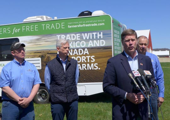 U.S. Rep. Ron Kind, D-Wisconsin, calls for ending trade disputes with China, Mexico and other trading partners Tuesday, April 23, 2019 at farm in Bangor, Wisconsin.