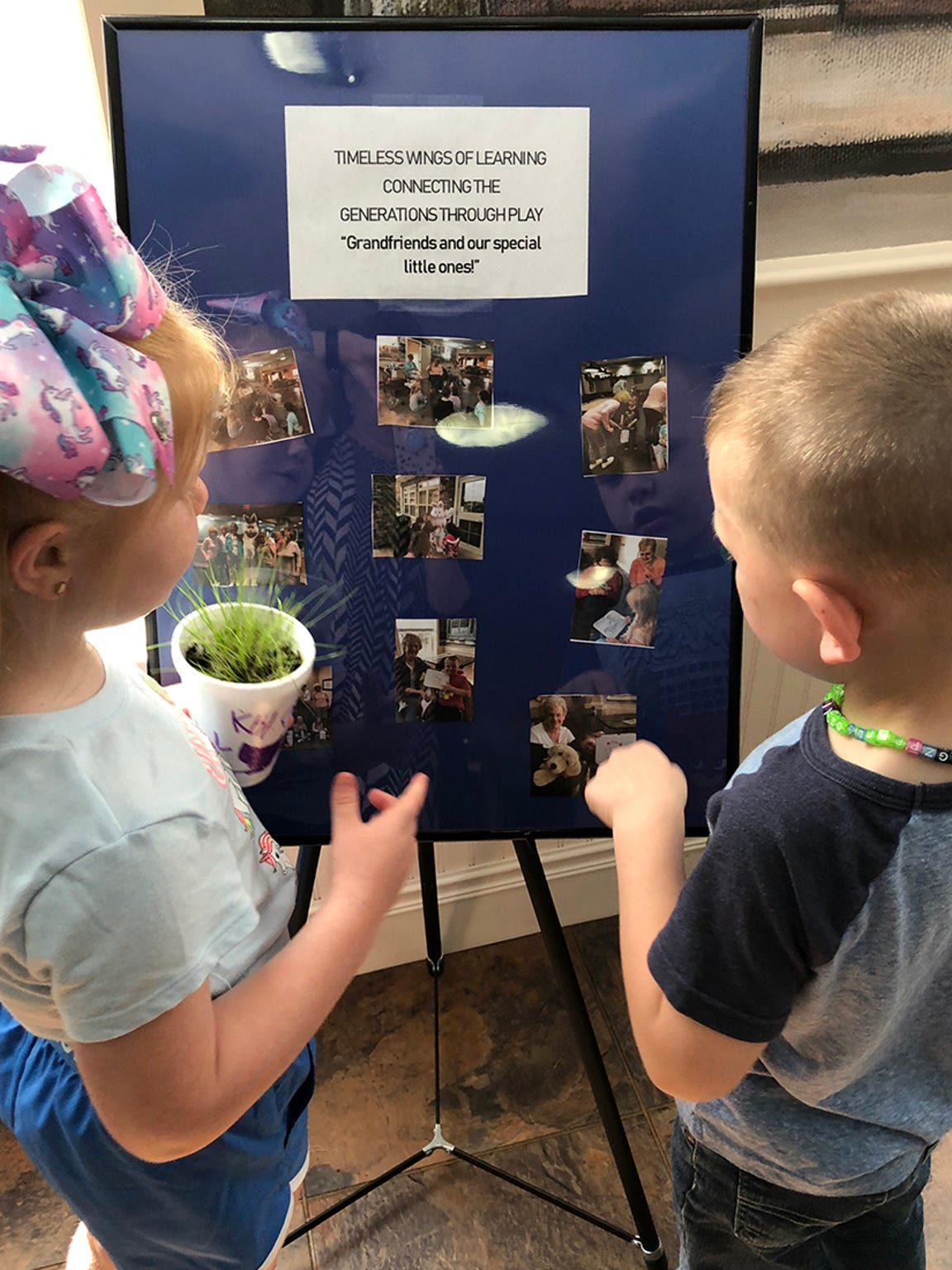 Khloey Campbell and Connor Clark, The Little Barnyard Preschool students, talk about their time with their grandfriends.