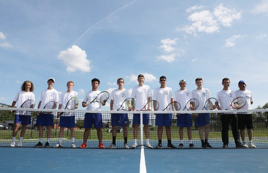 The Zanesville High School boys tennis team has won the ECOL for the first time in its history. Evan Dinan, left, Lucas Watson, Jeremiah Penrose, Jalen Payton, Clay Pennington, Leyton Needles, Benjamin Roman, Preston Needles, Sam Lightle, Alexander Moody and coach Jeff Moody hosted Granville for their final match of the season.