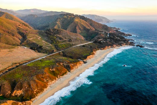 Best romantic road trip: Pacific Coast Highway, California. Route: Route 1, from Monterey to Morro Bay (123 miles). Let's hope your partner makes your heart soar; if not, the unimaginably gorgeous views from the Pacific Coast Highway will. The highway jogs alongside California farms and cliff-edged beaches, across high bridges and near groves of towering redwood trees. Tour the famed Monterey Bay Aquarium, enjoy lunch at a posh Carmel-by-the-Sea cafe, see the famous waterfall at Julia Pfeiffer Burns State Park (check the updated status of the park), and take a sunset stroll at Big Sur. There are plenty of romantic Victorian bed-and-breakfasts where you can spend the night.