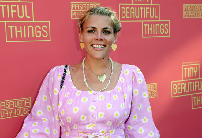 """Busy Philipps arrives at the opening night of """"Tiny Beautiful Things,"""" at the Playhouse Pasadena on Sunday, April 14, 2019, in Pasadena, Calif."""
