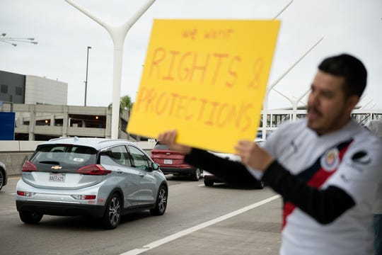 Uber and Lyft drivers in some cities across the country turned off their apps to strike for higher wages and benefits.Los Angeles, Calif.