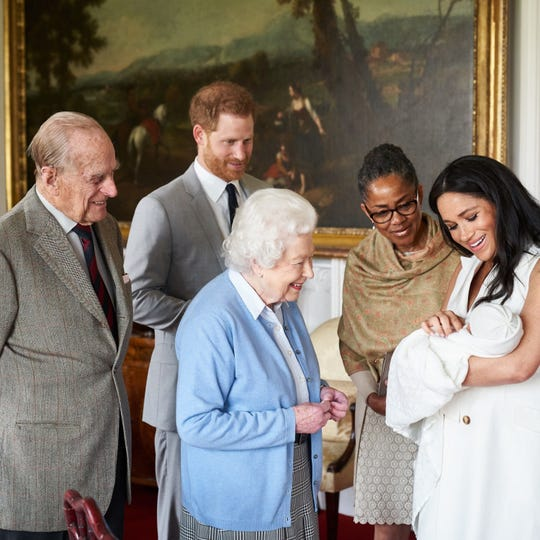 Prince Harry, Duke of Sussex and Meghan, Duchess of Sussex are joined by her mother, Doria Ragland, as they show their new son, born on Monday and named as Archie Harrison Mountbatten-Windsor, to the Queen Elizabeth II and Prince Philip, Duke of Edinburgh at Windsor Castle.