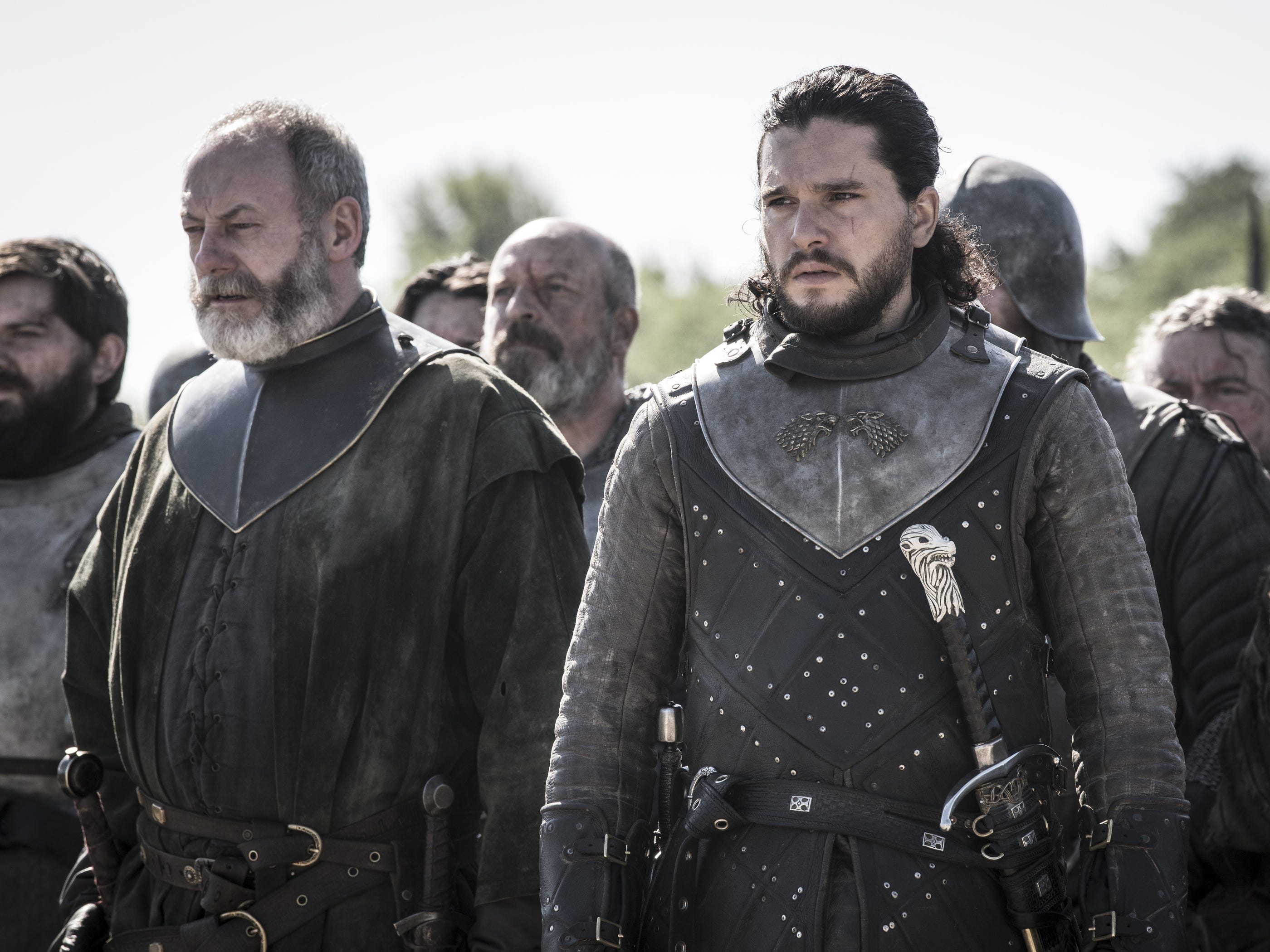 "Liam Cunningham as Davos Seaworth and Kit Harington as Jon Snow on ""Game of Thrones."""