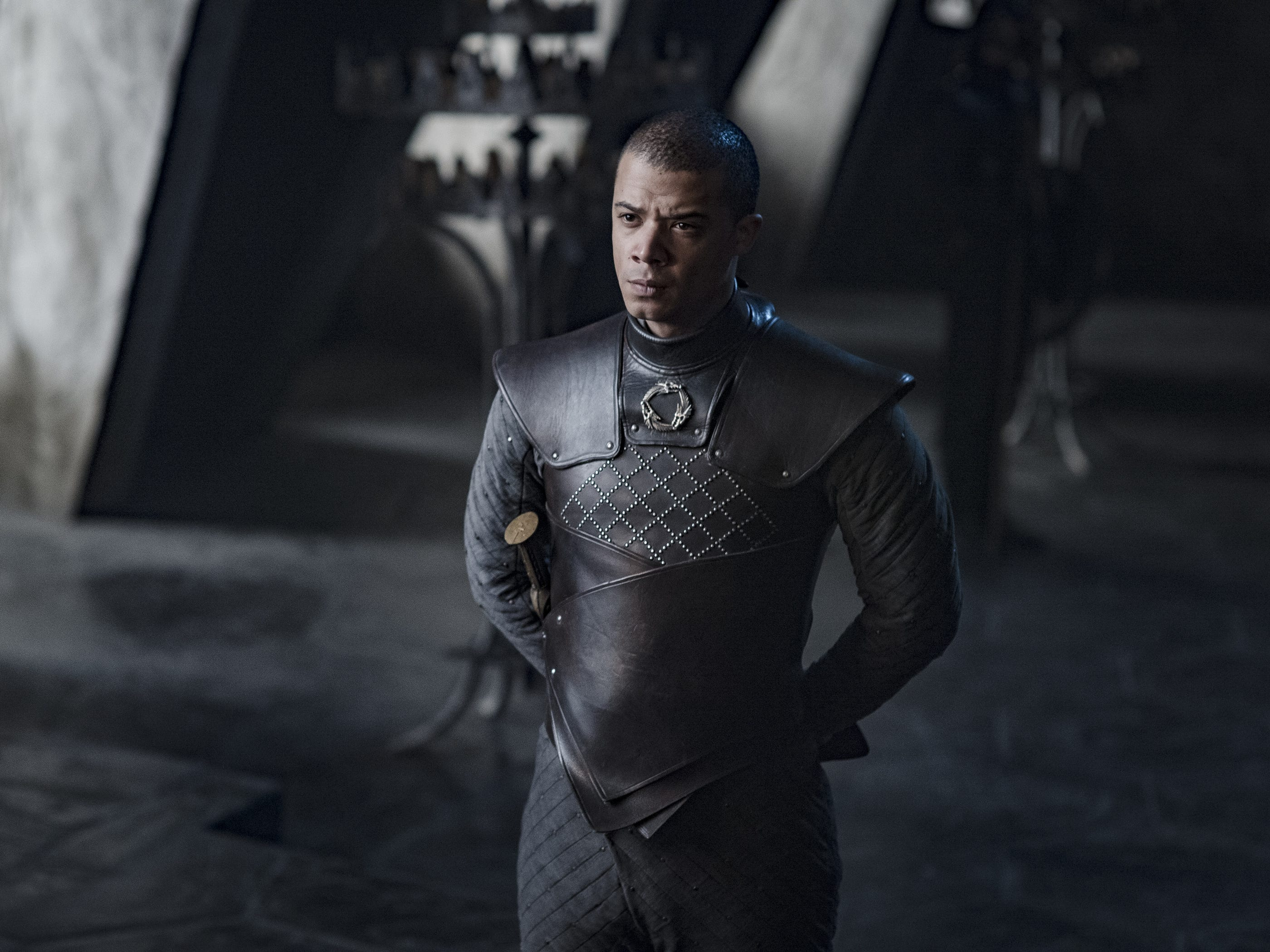 "Jacob Anderson as Grey Worm on ""Game of Thrones."""