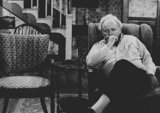 "Actor Carroll O'Connor, in a scene from ""Archie Bunker's Place"" on CBS Television Sunday Nov. 2, 1980 in which he grieves the death of wife Edith Bunher."