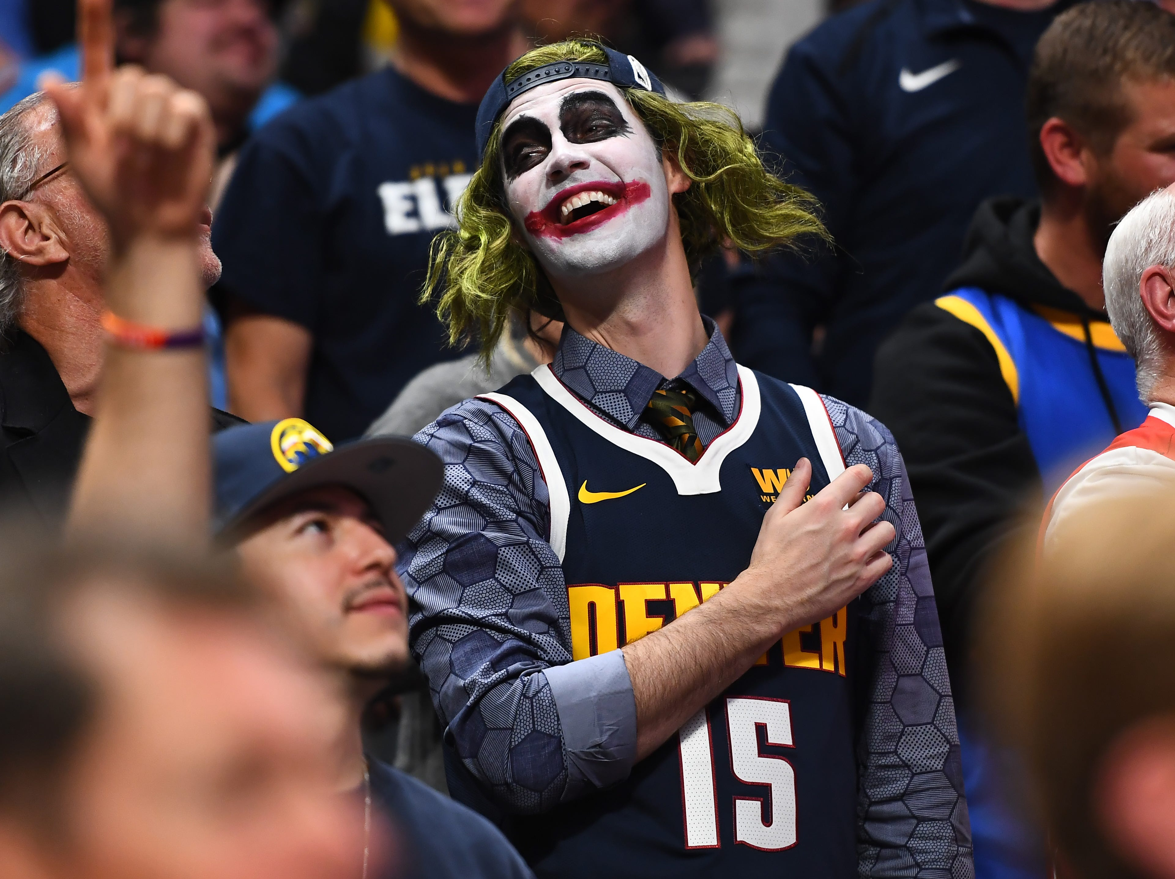 May 7: A Denver Nuggets fan dresses as the Joker for center Nikola Jokic in Game 5 against the Portland Trail Blazers.