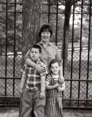 Andy Strauss, left, and Larry Strauss with their mother, actress Charlotte Rae, in Central Park in New York in the early 1960s.