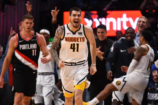 May 7: Denver Nuggets forward Juan Hernangomez reacts following his 3-pointer in the fourth quarter against the Portland Trail Blazers in Game 5.