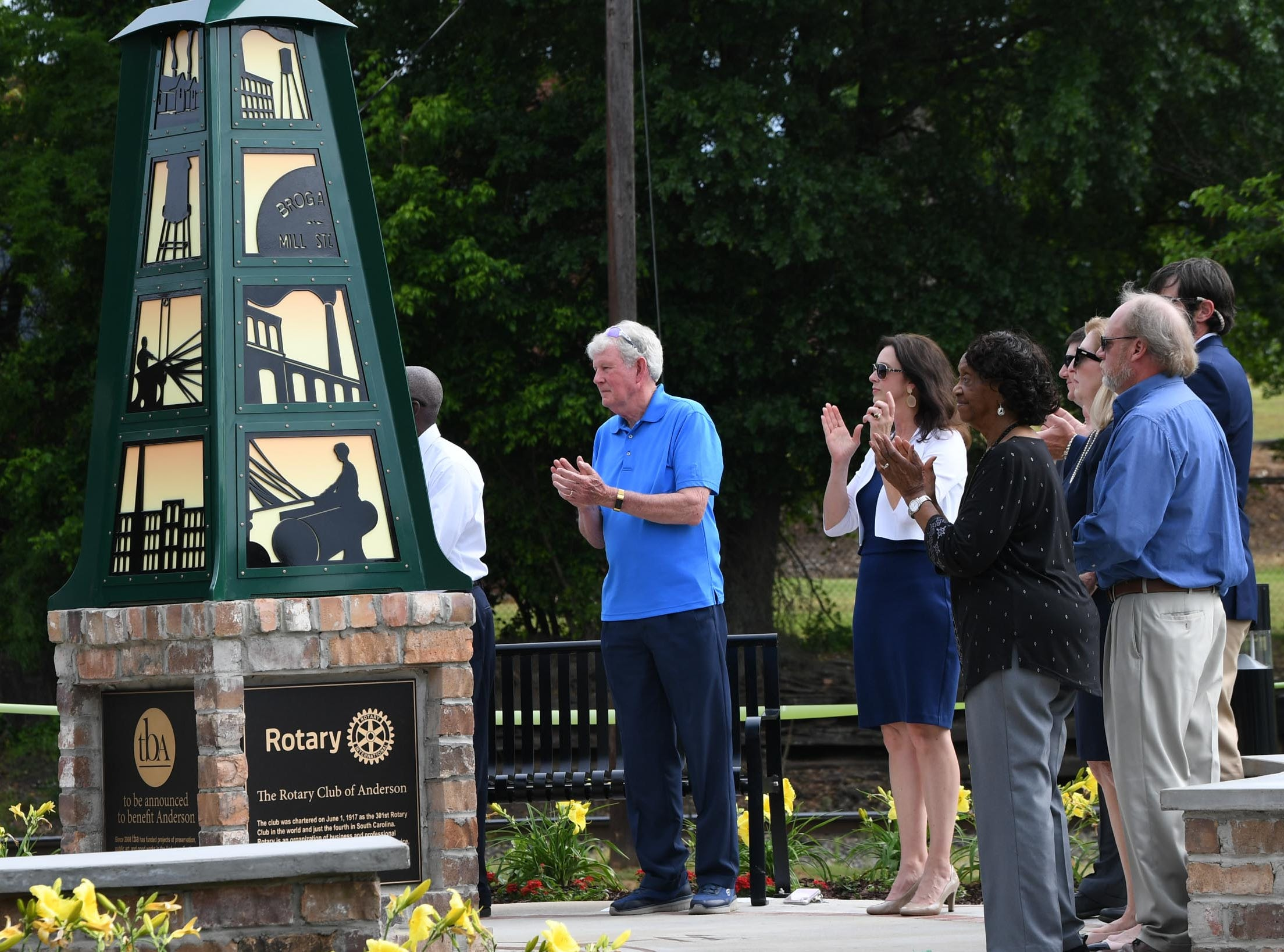 Anderson officials unveil the Under the bridge project called Textile Point in downtown Anderson Thursday, May 9, 2019. Scott Foster of Anderson designed the monument honoring years of textile mills in Anderson, with support partners from To Benefit Anderson, South Carolina Heritage Corridor, the Rotary Club of Anderson, and the City of Anderson.