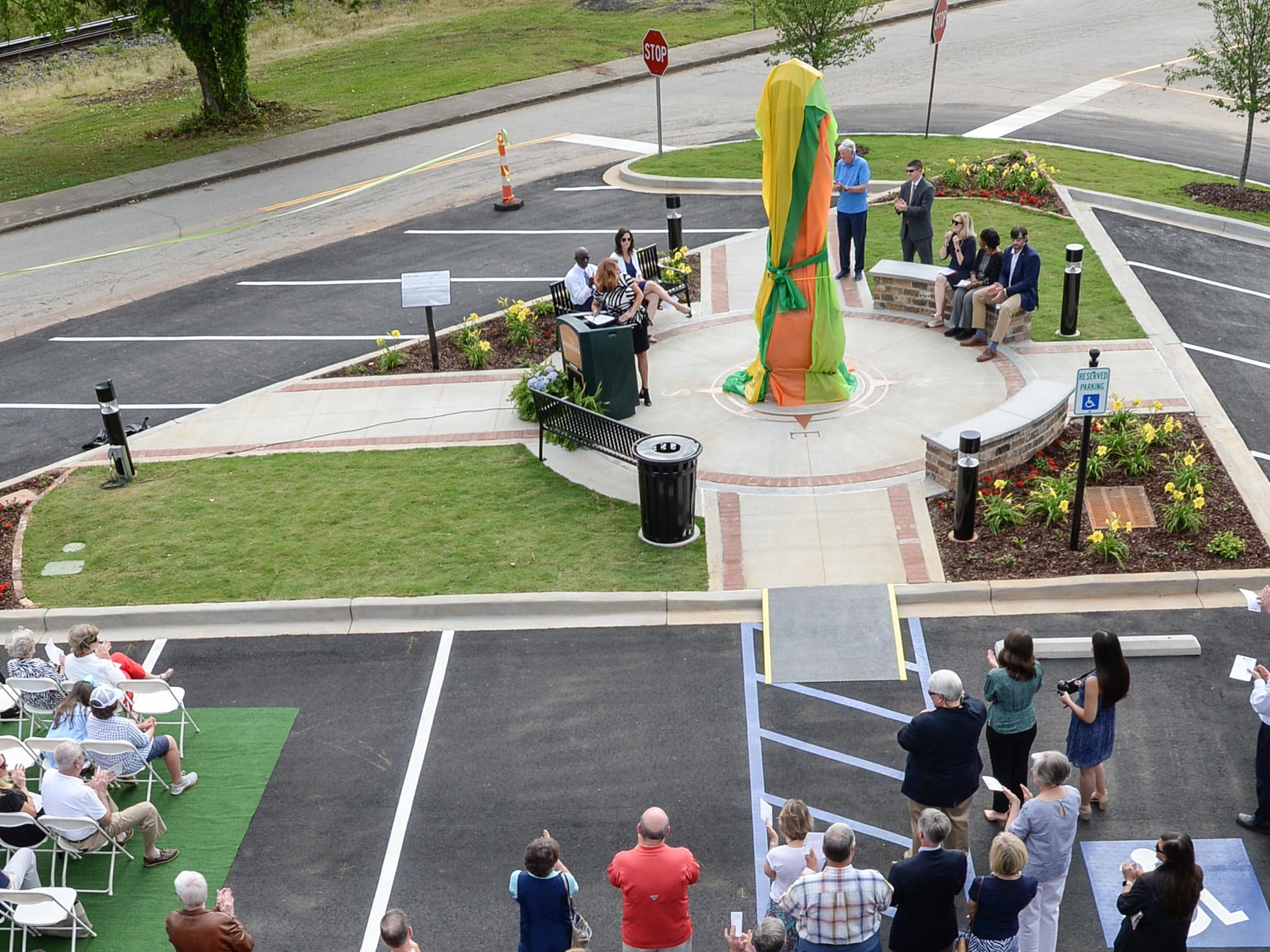 Kimberly Spears, city Economic Development Director, speaks before helping unveil the Under the bridge project called Textile Point in downtown Anderson Thursday, May 9, 2019. Scott Foster of Anderson designed the monument honoring years of textile mills in Anderson, with support partners from To Benefit Anderson, South Carolina Heritage Corridor, the Rotary Club of Anderson, and the City of Anderson.