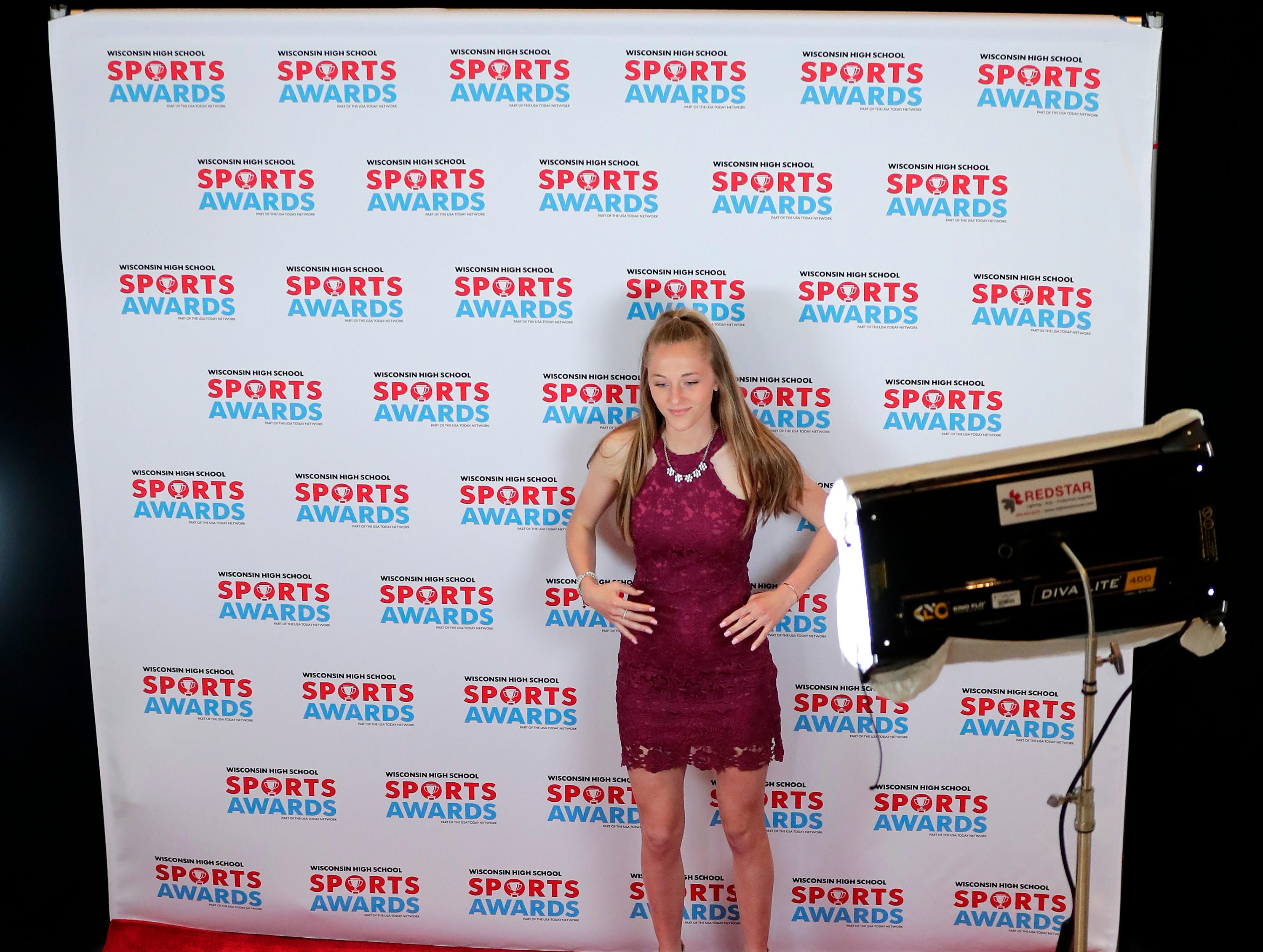 Winneconne's Emily Heytroth poses during the Wisconsin High School Sports Awards show at the Fox Cities Performing Arts Center on Wednesday, May 8, 2019, in Appleton, Wis. Olympic champion Michael Phelps was the guest speaker. The annual event was presented by USA TODAY NETWORK-Wisconsin.  Wm. Glasheen/USA TODAY NETWORK-Wisconsin.