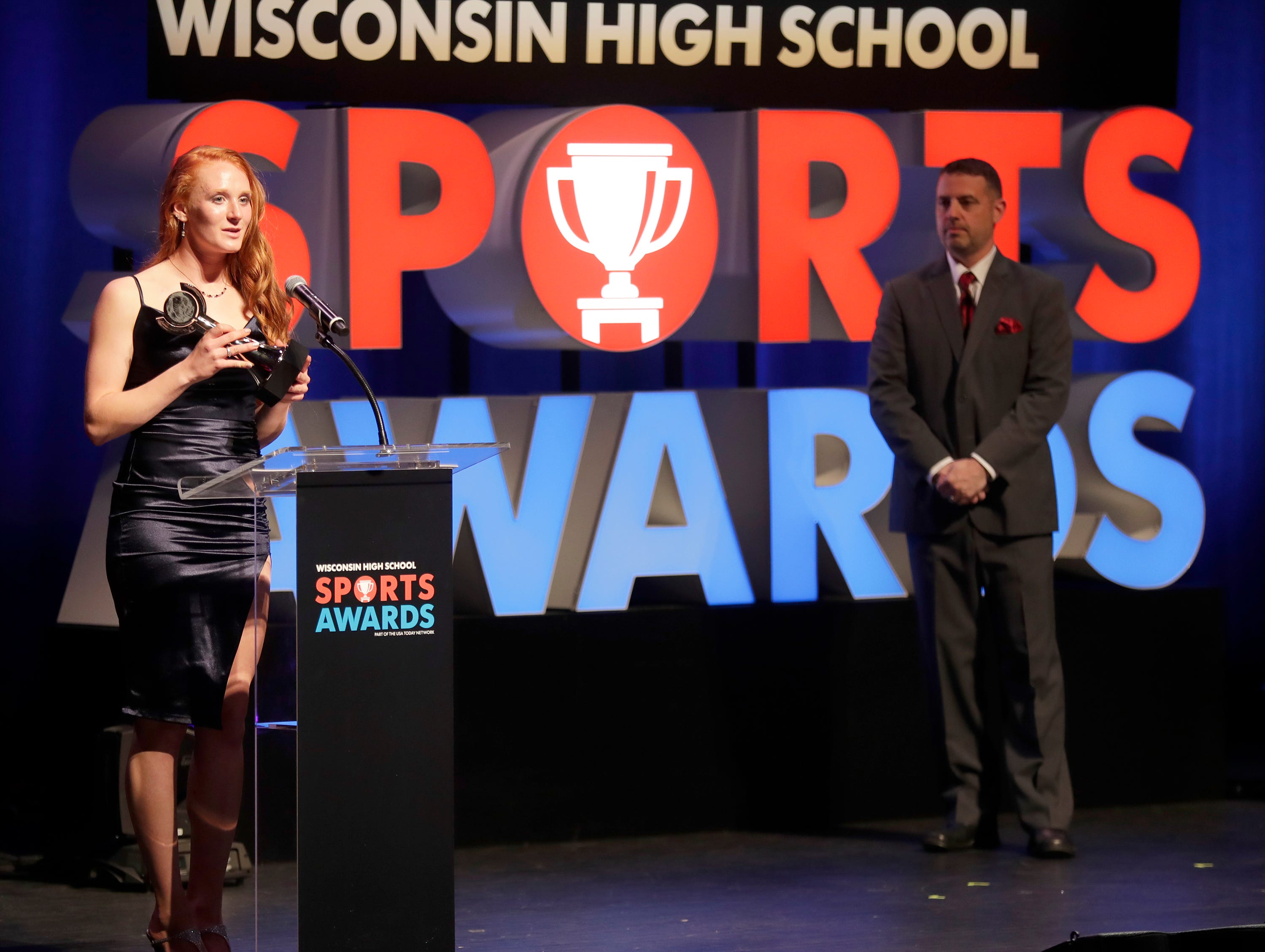 Softball Player of the Year, Oshkosh north's Syd Supple during the Wisconsin High School Sports Awards show at the Fox Cities Performing Arts Center on Wednesday, May 8, 2019, in Appleton, Wis. Olympic champion Michael Phelps was the guest speaker. The annual event was presented by USA TODAY NETWORK-Wisconsin.  Wm. Glasheen/USA TODAY NETWORK-Wisconsin.