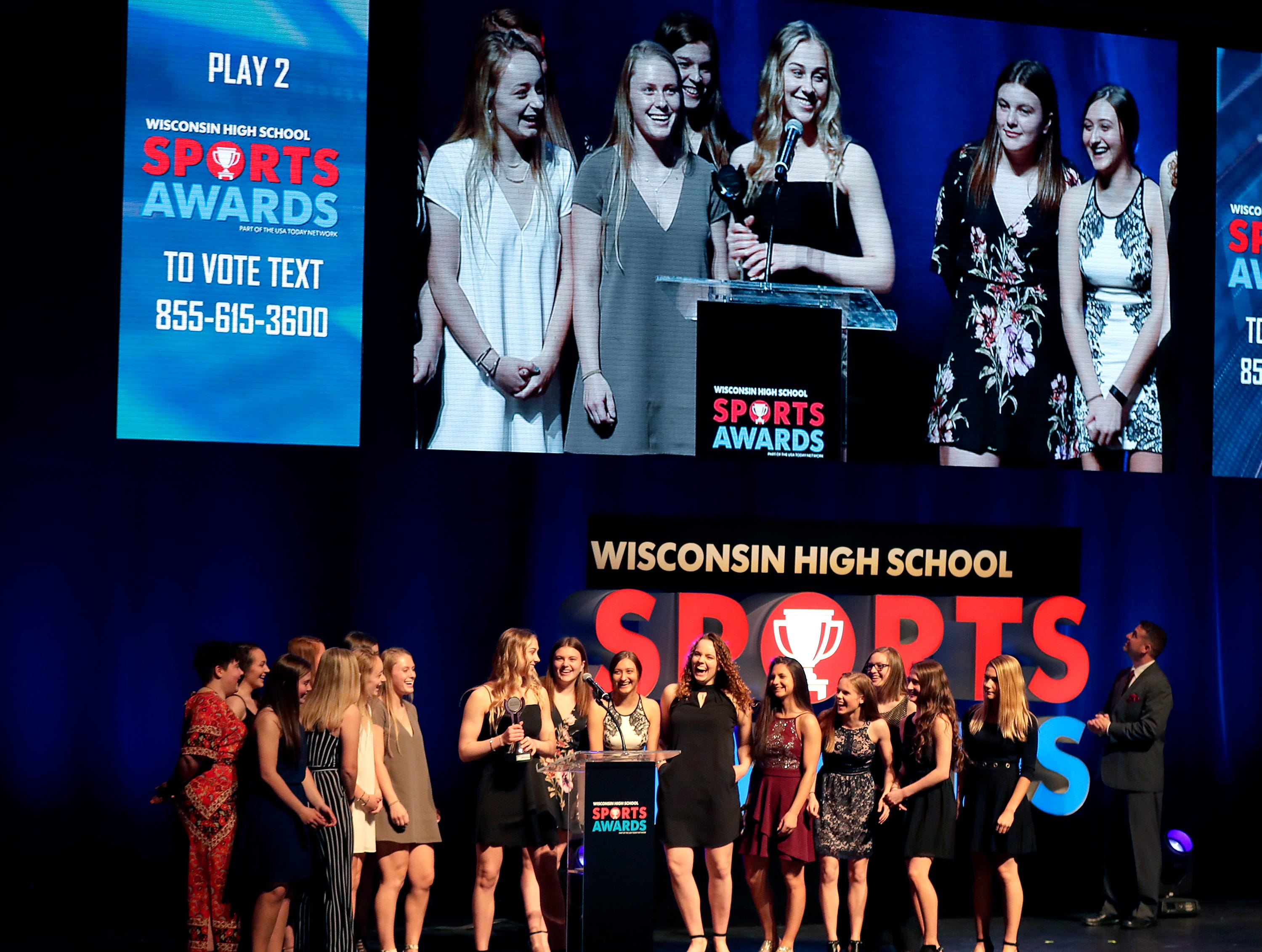 Play of the Year award, Fox Citie Stars girls hockey during the Wisconsin High School Sports Awards show at the Fox Cities Performing Arts Center on Wednesday, May 8, 2019, in Appleton, Wis. Olympic champion Michael Phelps was the guest speaker. The annual event was presented by USA TODAY NETWORK-Wisconsin.  Wm. Glasheen/USA TODAY NETWORK-Wisconsin.