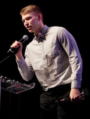 Waupun's Marcus Domask accepts the Boys Basketball Player of the Year award during the Wisconsin High School Sports Awards show Wednesday at the Fox Cities Performing Arts Center in Appleton.