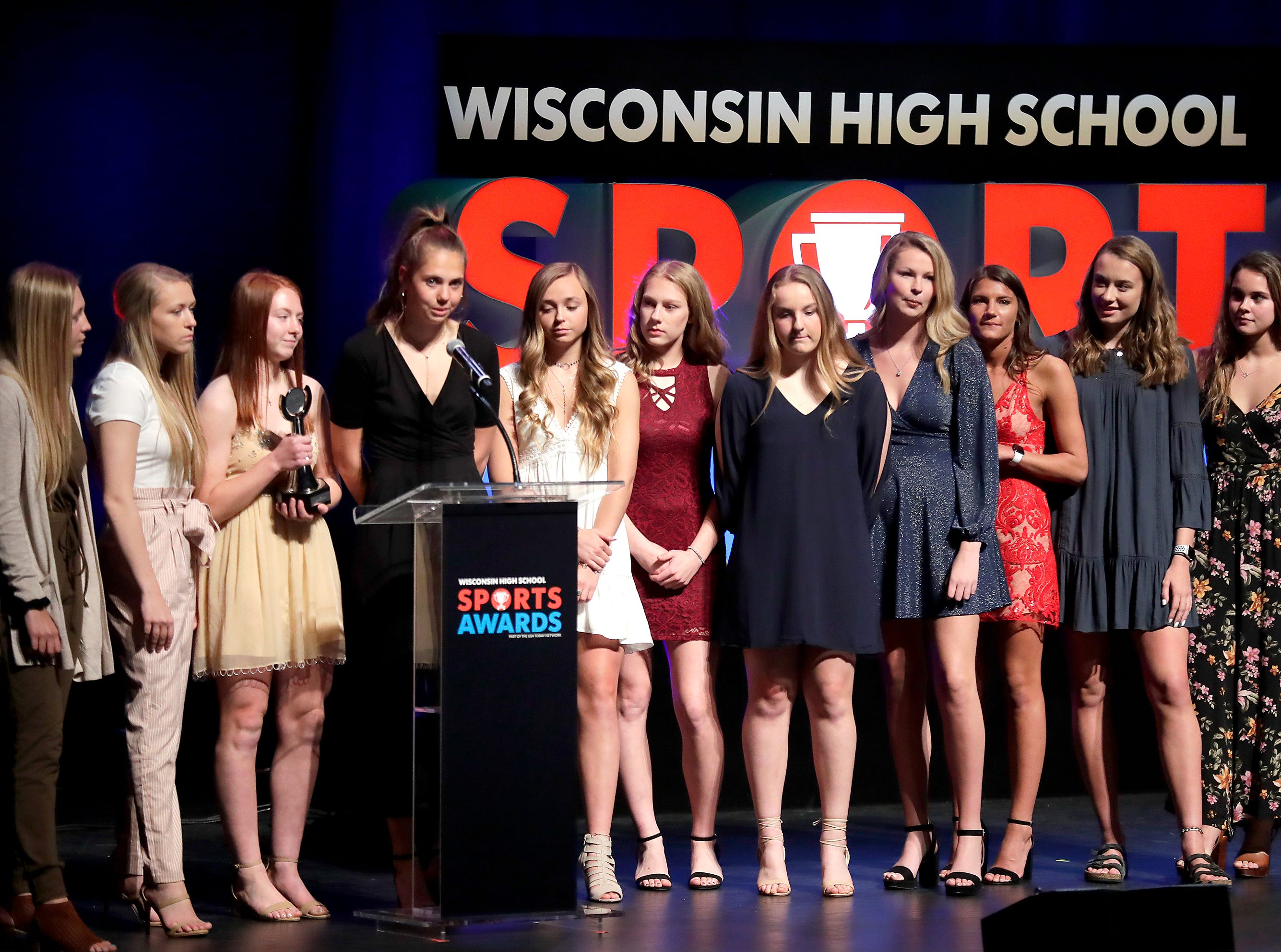 The team of the year, the Bay Port girls basketball team, during the Wisconsin High School Sports Awards show at the Fox Cities Performing Arts Center on Wednesday, May 8, 2019, in Appleton, Wis. Olympic champion Michael Phelps was the guest speaker. The annual event was presented by USA TODAY NETWORK-Wisconsin.  Wm. Glasheen/USA TODAY NETWORK-Wisconsin.