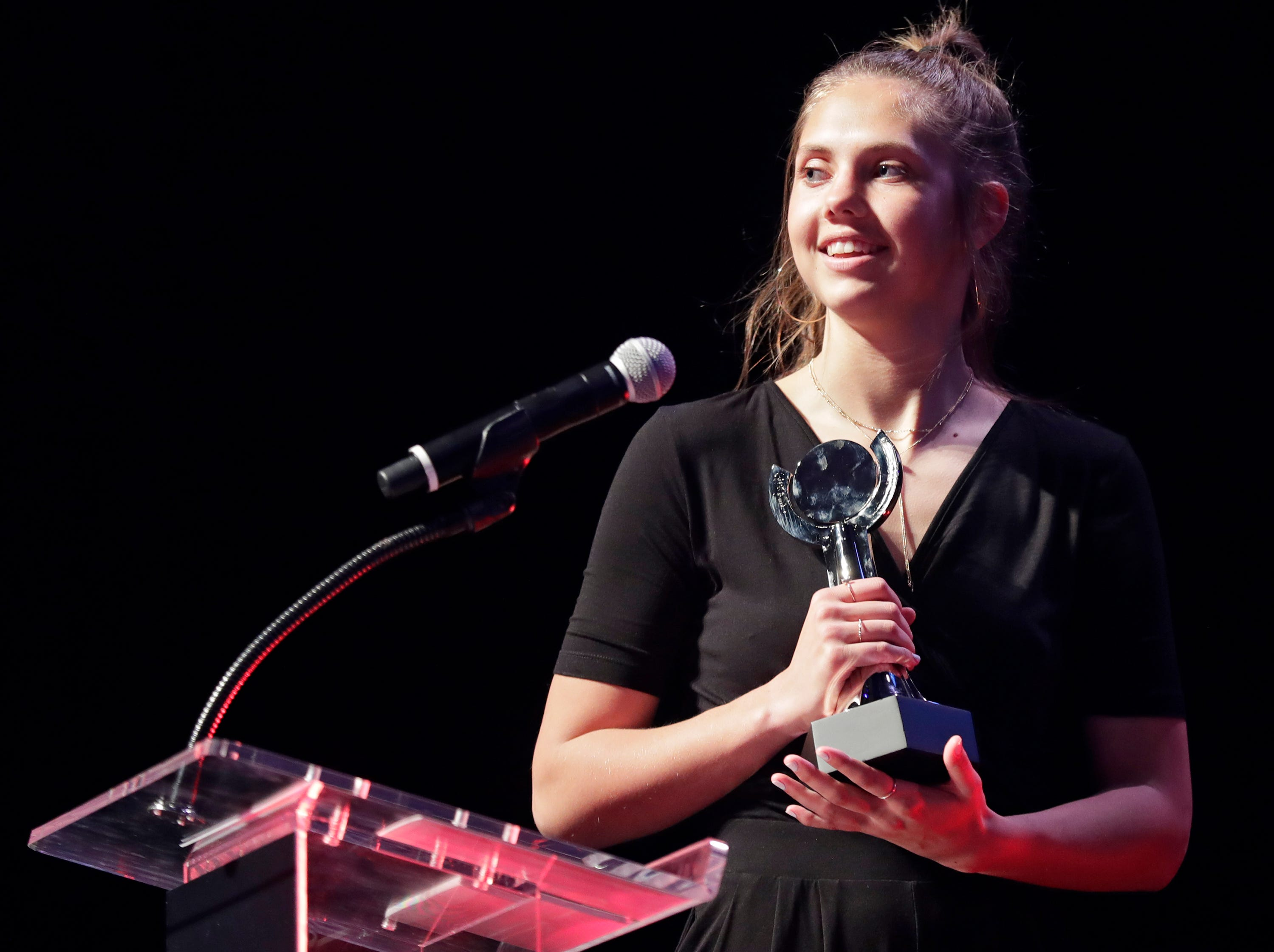 Girls Soccer Player of the Year, Bay Port's Emma Nagel during the Wisconsin High School Sports Awards show at the Fox Cities Performing Arts Center on Wednesday, May 8, 2019, in Appleton, Wis. Olympic champion Michael Phelps was the guest speaker. The annual event was presented by USA TODAY NETWORK-Wisconsin.  Wm. Glasheen/USA TODAY NETWORK-Wisconsin.