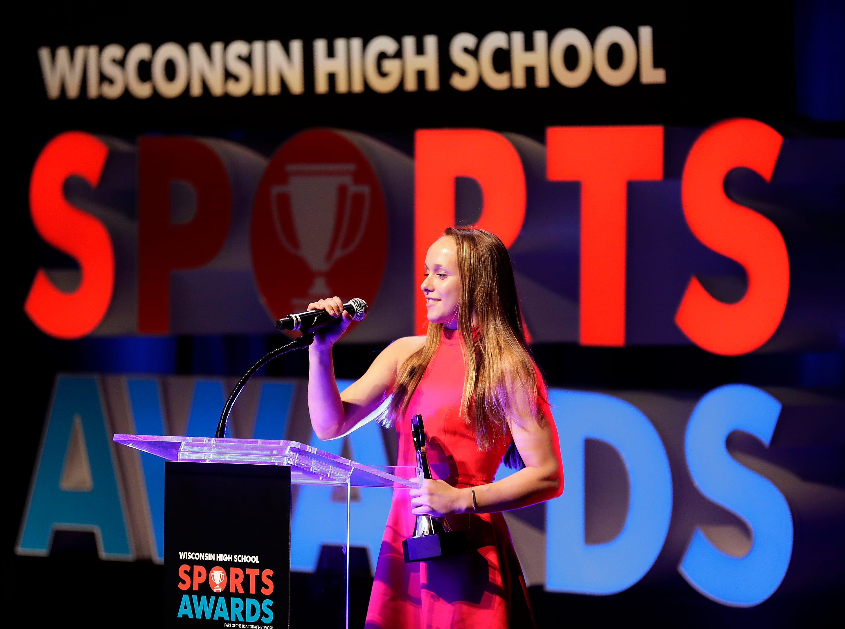 Gymnast of the Year, Marshfield's Gracie Holland during the Wisconsin High School Sports Awards show at the Fox Cities Performing Arts Center on Wednesday, May 8, 2019, in Appleton, Wis. Olympic champion Michael Phelps was the guest speaker. The annual event was presented by USA TODAY NETWORK-Wisconsin.  Wm. Glasheen/USA TODAY NETWORK-Wisconsin.