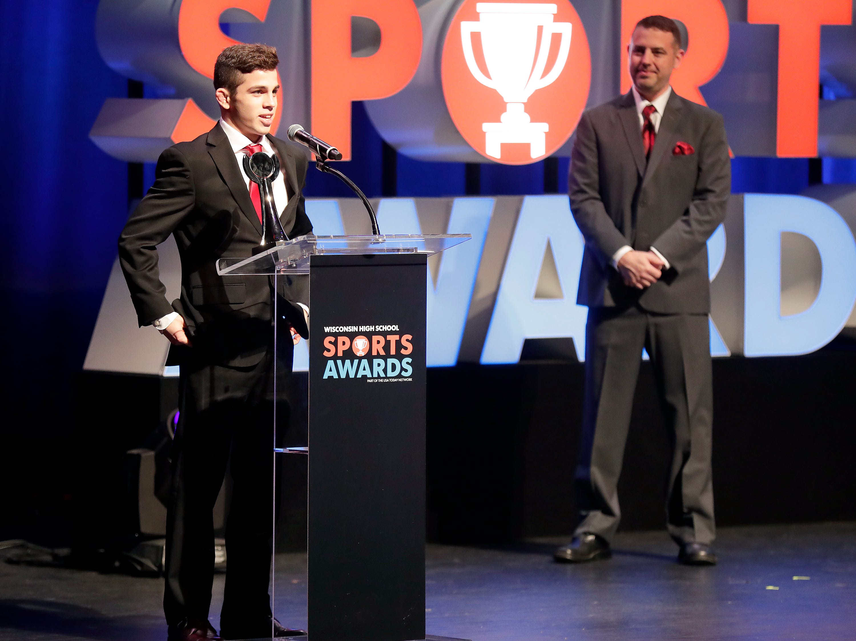 Wrestler of the year Eric Barnett of Hortonville during the Wisconsin High School Sports Awards show at the Fox Cities Performing Arts Center on Wednesday, May 8, 2019, in Appleton, Wis. Olympic champion Michael Phelps was the guest speaker. The annual event was presented by USA TODAY NETWORK-Wisconsin.  Wm. Glasheen/USA TODAY NETWORK-Wisconsin.