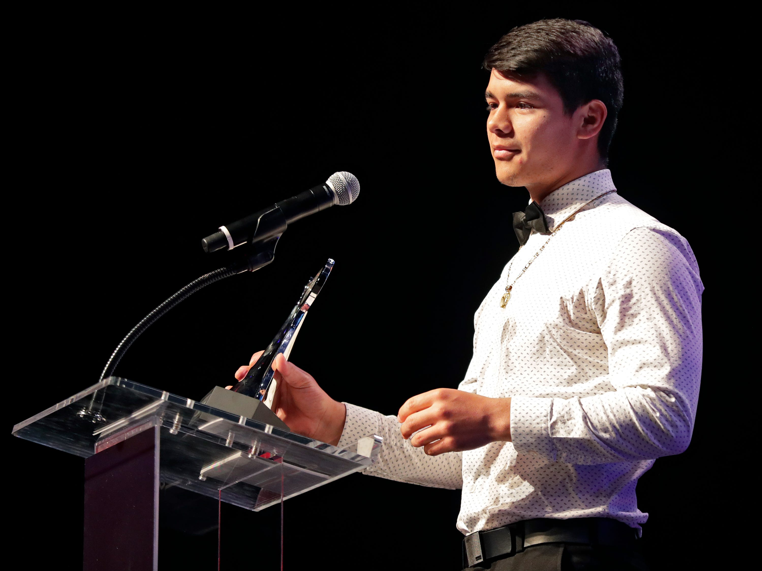 Boys Soccer Player of the Year, Oshkosh West's Edgar Heredia during the Wisconsin High School Sports Awards show at the Fox Cities Performing Arts Center on Wednesday, May 8, 2019, in Appleton, Wis. Olympic champion Michael Phelps was the guest speaker. The annual event was presented by USA TODAY NETWORK-Wisconsin.  Wm. Glasheen/USA TODAY NETWORK-Wisconsin.