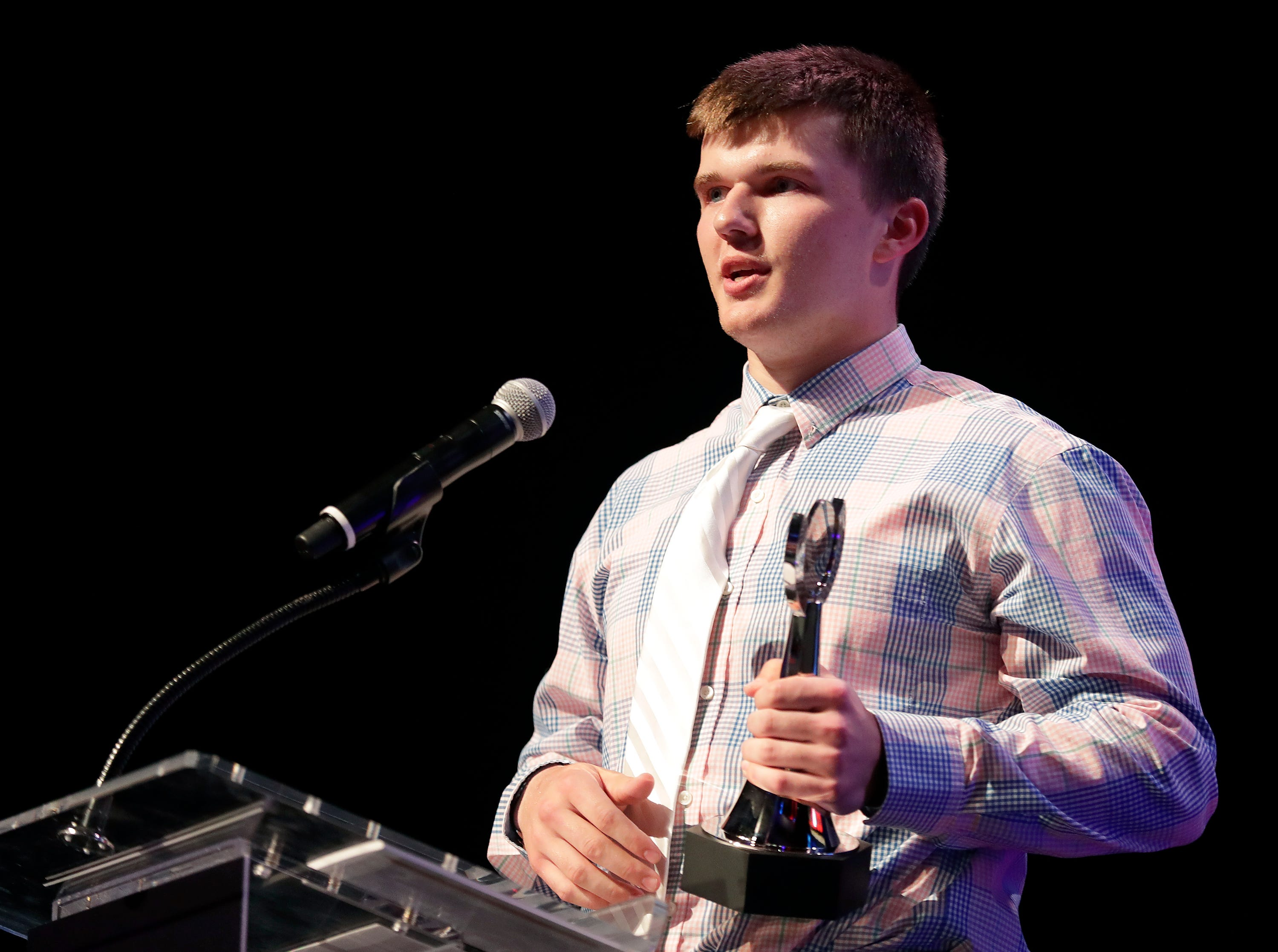 Boys Athlete of the Year, Southern Door's Derek Lecaptain during the Wisconsin High School Sports Awards show at the Fox Cities Performing Arts Center on Wednesday, May 8, 2019, in Appleton, Wis. Olympic champion Michael Phelps was the guest speaker. The annual event was presented by USA TODAY NETWORK-Wisconsin.  Wm. Glasheen/USA TODAY NETWORK-Wisconsin.