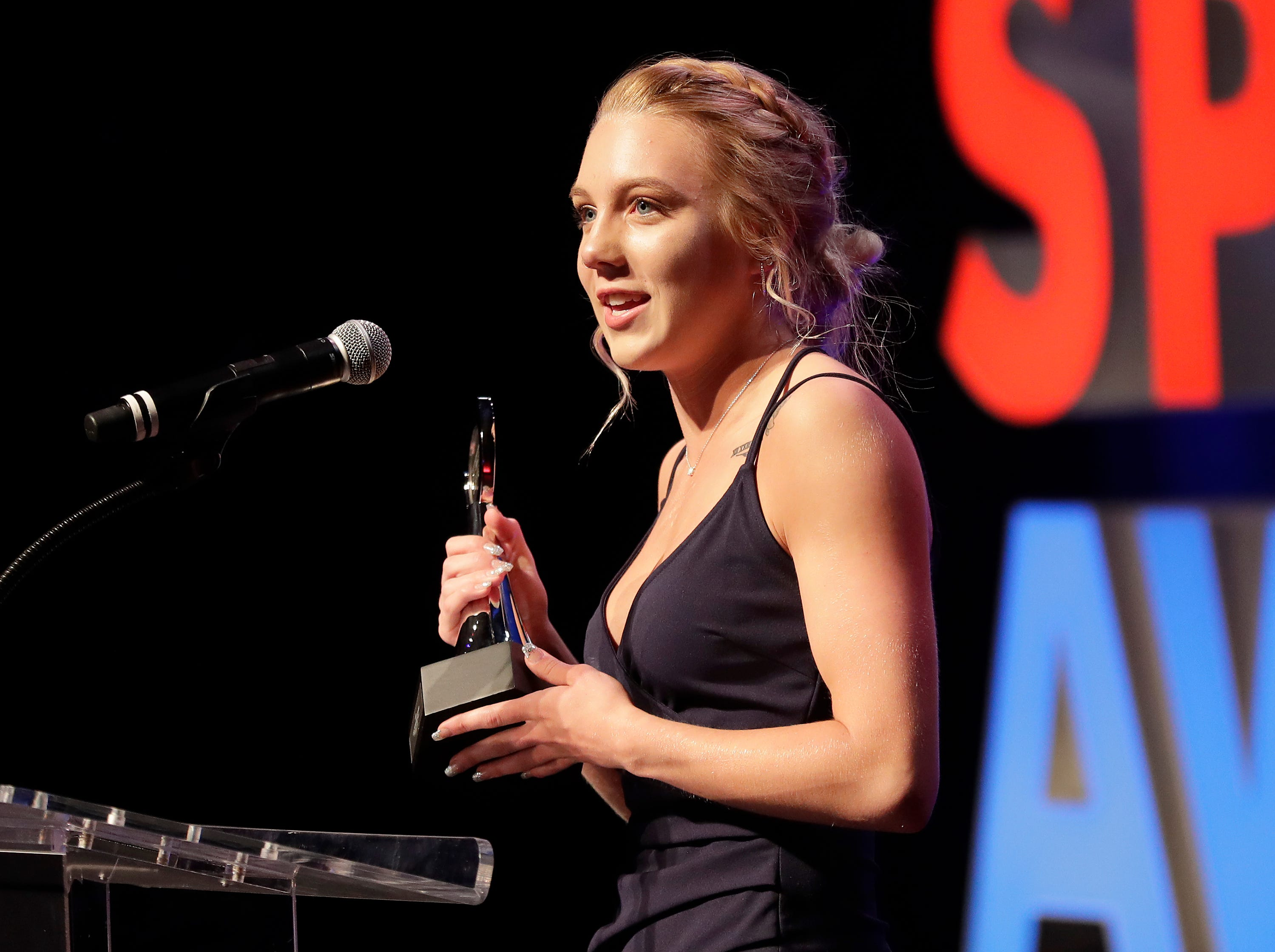 Girls Swimming and Diving Athlete of the Year, Neenah's Av Osero during the Wisconsin High School Sports Awards show at the Fox Cities Performing Arts Center on Wednesday, May 8, 2019, in Appleton, Wis. Olympic champion Michael Phelps was the guest speaker. The annual event was presented by USA TODAY NETWORK-Wisconsin.  Wm. Glasheen/USA TODAY NETWORK-Wisconsin.