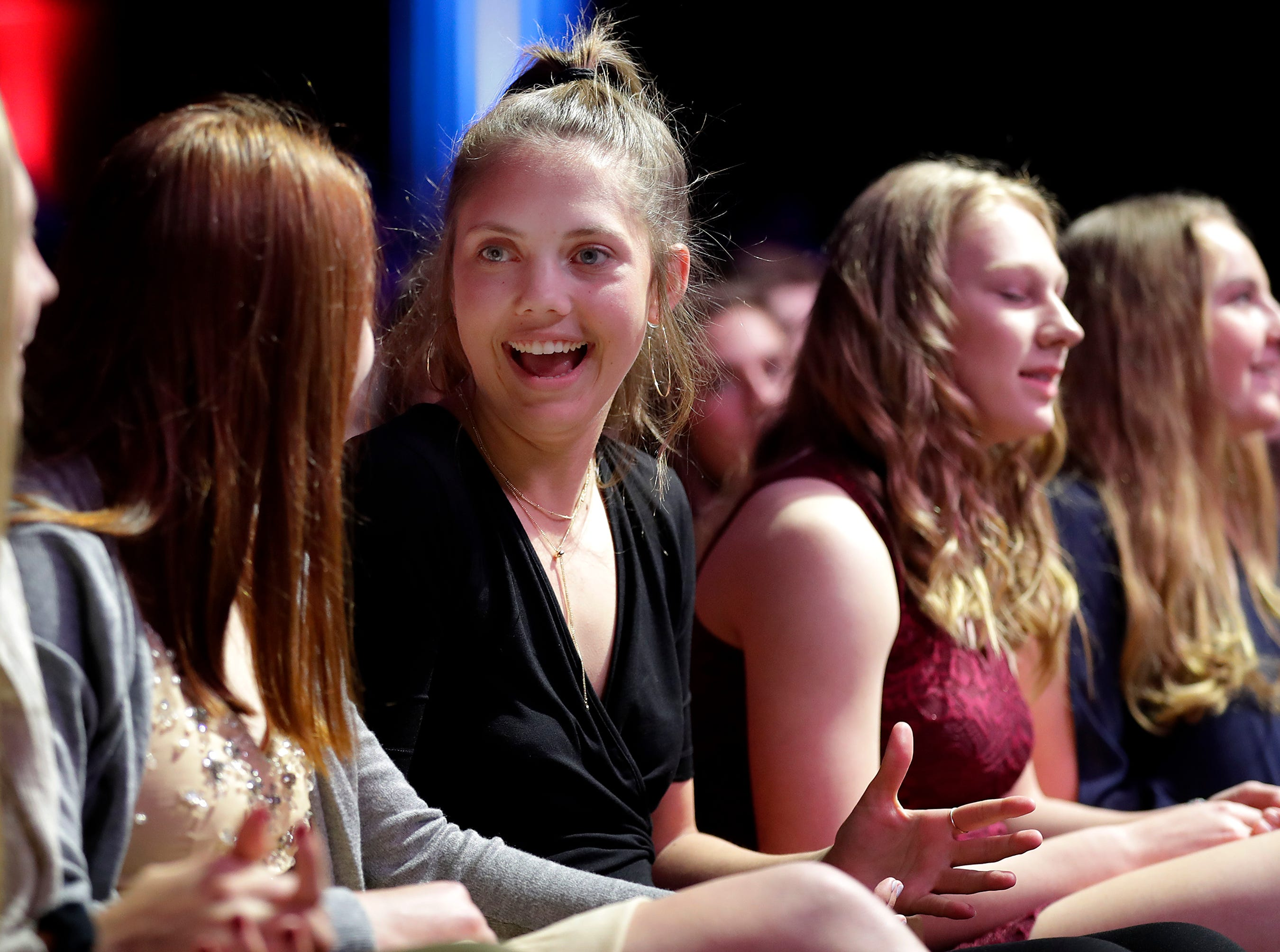 Girls Basketball Player of the Year, Bay Port's Emma Nagel during the Wisconsin High School Sports Awards show at the Fox Cities Performing Arts Center on Wednesday, May 8, 2019, in Appleton, Wis. Olympic champion Michael Phelps was the guest speaker. The annual event was presented by USA TODAY NETWORK-Wisconsin.  Wm. Glasheen/USA TODAY NETWORK-Wisconsin.