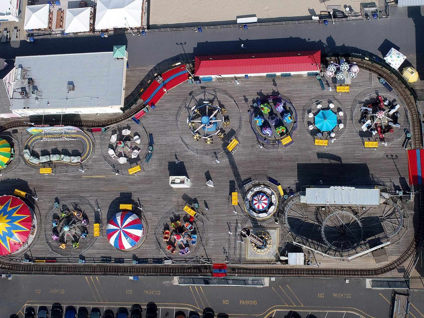 A aerial view of the kids rides at Jenkinson's on the Boardwalk in Point Pleasant Beach Thursday afternoon, May 2, 2019.
