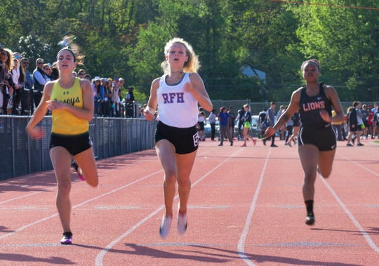 Rumson-Fair Haven's Lily Orr wins the  Girls 100 dash at the Monmouth County Track Championship in Middletown on May 8, 2019