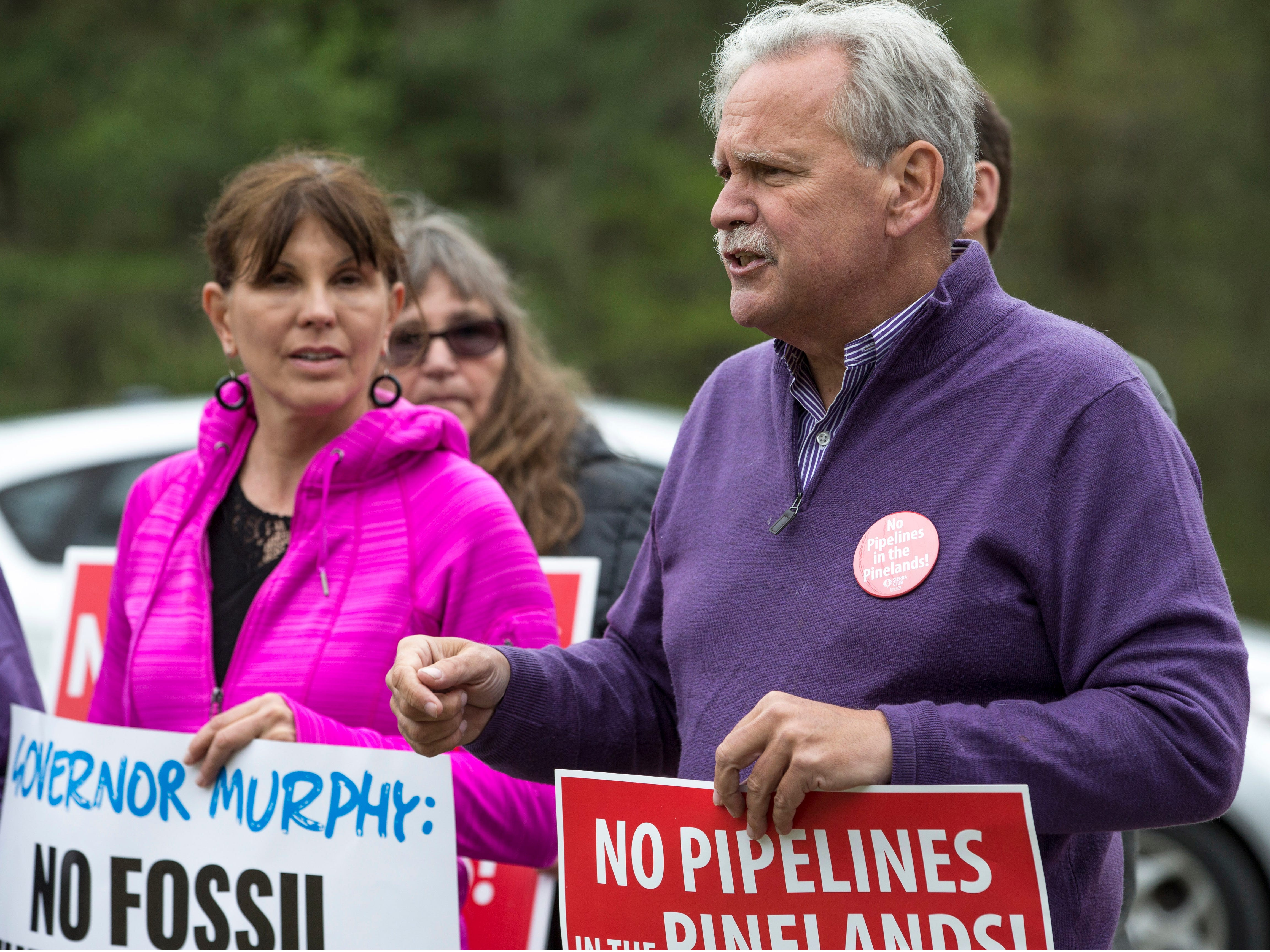 Jeff Tittel, director of the New Jersey Sierra Club, urges officials to put a stay on construction of the pipeline. On Friday, May 3rd, environmental advocates along with others hold a demonstration in opposition to the Southern Reliability Link (SRL) Pipeline. Despite being in ongoing litigation, NJNG's SRL pipeline has started construction in Ocean County, Burlington County and scenic areas of the Pinelands in Manchester. Manchester, NJFriday, May 3, 2019