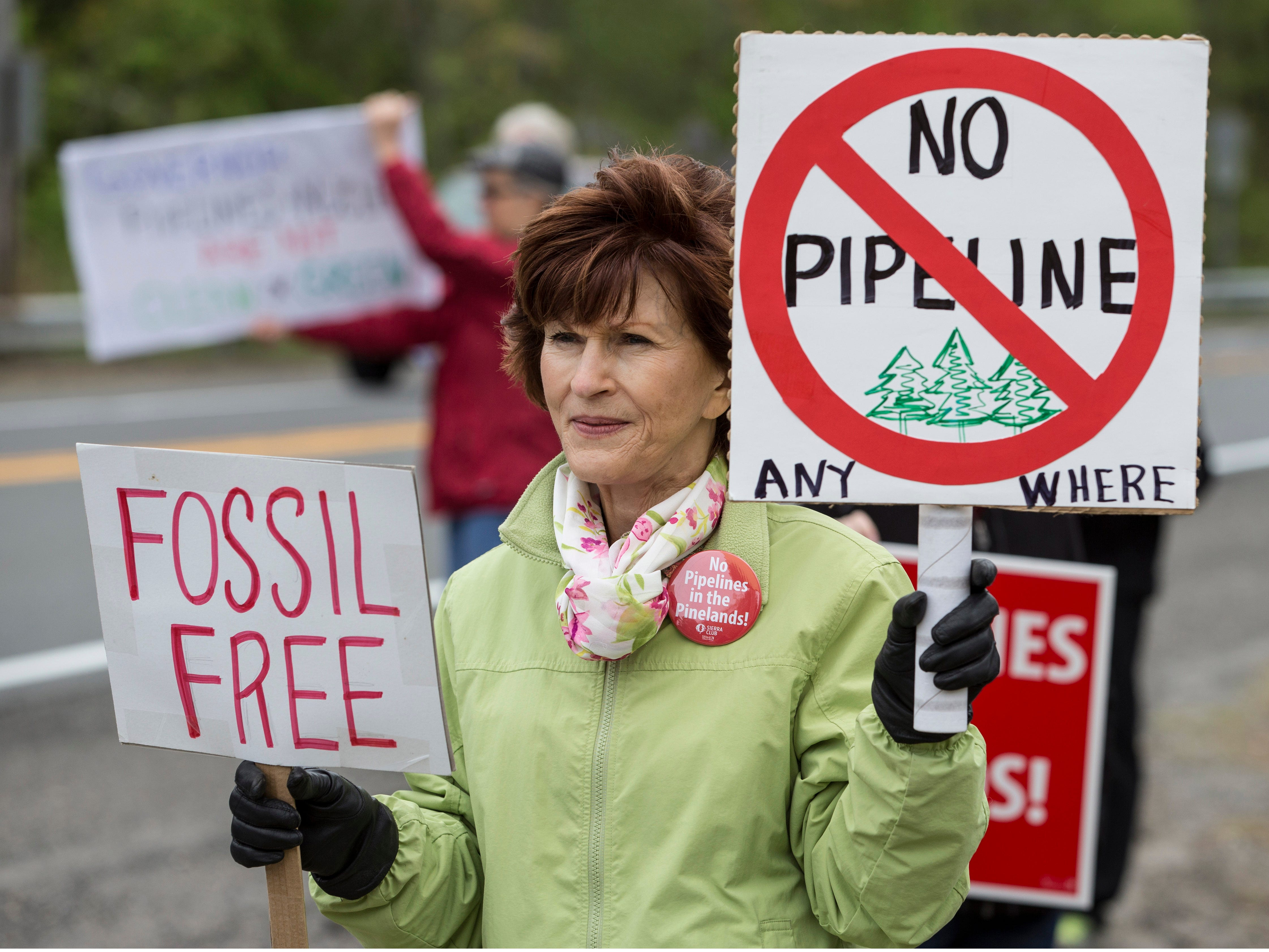Susan Uscenski of Barnegat holds a sign in protest of the pipeline. On Friday, May 3rd, environmental advocates along with others hold a demonstration in opposition to the Southern Reliability Link (SRL) Pipeline. Despite being in ongoing litigation, NJNG's SRL pipeline has started construction in Ocean County, Burlington County and scenic areas of the Pinelands in Manchester. Manchester, NJFriday, May 3, 2019