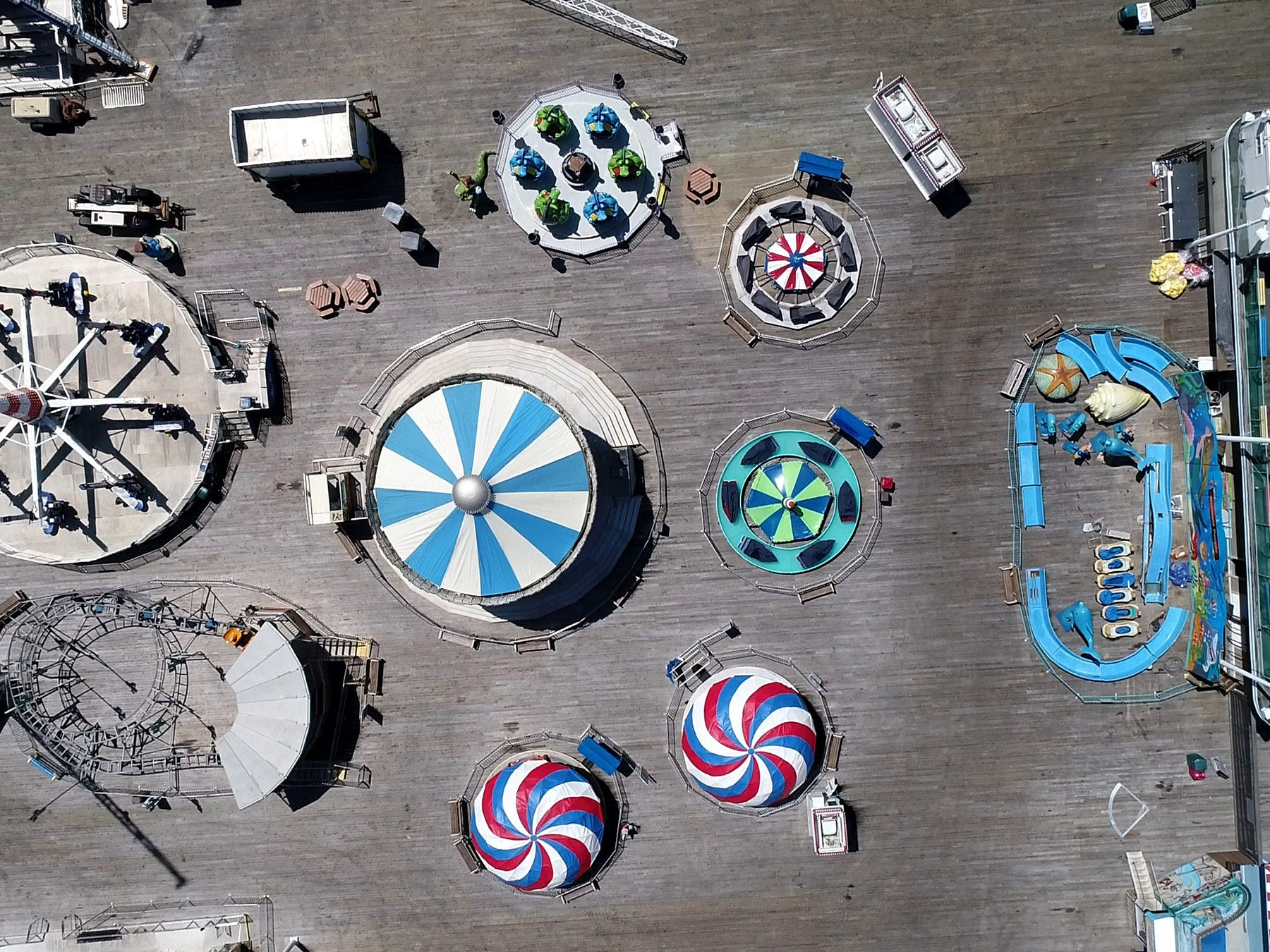 Rides are being prepared for the summer season on Seaside Heights' Casino Pier Monday, May 6, 2019.